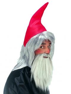 Zwergen-Mütze und Zwergen-Bart Kostümzubehör rot-grau