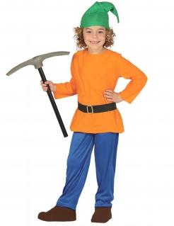 Zwerg-Kostüm für Kinder Fasching grün-orange-blau