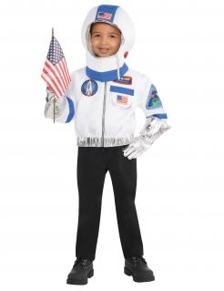 Astronautenverkleidung für Kinder 4-teilig Karneval weiss-blau