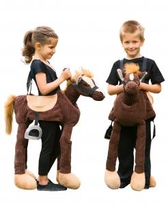 Pony-Kostüm für Kinder Huckepack Karneval braun