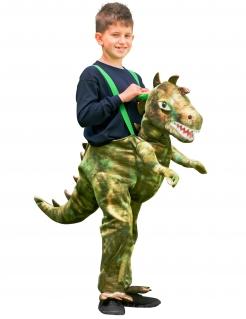 Dinosaurier Huckepack-Kostüm für Kinder Karneval grün