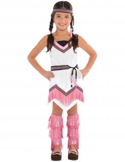 Indianer-Kostüm für Mädchen Karneval weiss-rosa