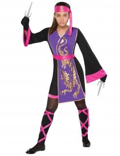 Ninja-Kostüm für Mädchen Karneval schwarz-violett