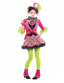 Hutmacherin Kostüm für Mädchen Fasching pink-grün