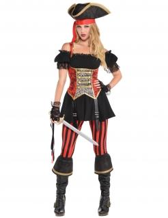 Piratenkostüm Seeräuberin-Outfit für Damen schwarz-rot-gold