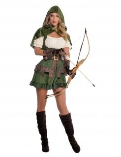 Sexy Bogenschützin-Kostüm grün-beige-braun