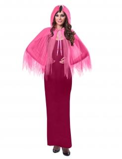 Flamingo-Umhang mit Kapuze für Erwachsene pink