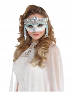 Augenmaske mit Glitzersteinen für Damen Kostüm-Accessoire silber
