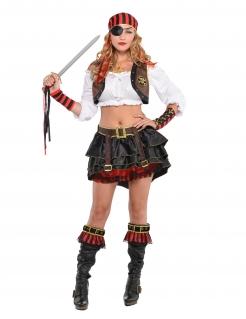 Piraten-Zubehör-Set für Damen braun-rot-schwarz