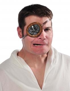 Piraten-Augenklappe für Erwachsene grau-braun