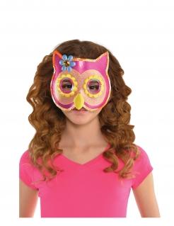Eulen-Augenmaske für Kinder rosa-gelb-blau
