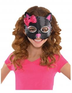 Katzen-Kindermaske mit Pailletten schwarz-pink