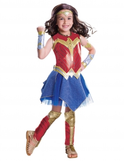 Wonder Woman™-Kostüm für Mädchen Karneval rot-blau-gold