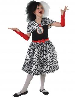 Cruella™-Kostüm für Kinder Karneval scchwarz-weiss-rot