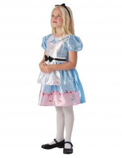 Alice im Wunderland™-Kostüm für Kinder Karneval blau-weiss