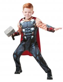 Deluxe Thor™-Kostüm für Kinder mit Hammer Fasching grau-rot