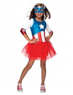 Captain America™-Kostüm für Mädchen Karneval rot-blau-weiss