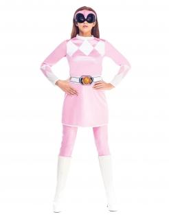 Mighty Morphin™-Lizenzkostüm für Damen rosa-weiss