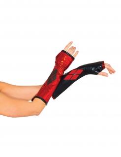 Harley Quinn™-Handschuhe Lizenzartikel schwarz-rot