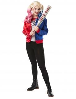 Harley-Quinn™-Jacke und T-Shirt für Jugendliche rot-blau