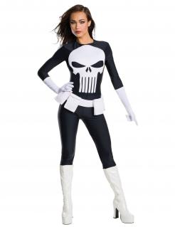 The Punisher™-Damenkostüm Halloweenkostüm schwarz-weiss