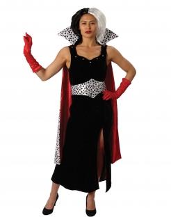 Cruella de Vil™-Kostüm für Damen Disney™ Faschingskostüm rot-weiss