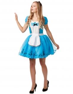 Alice im Wunderland™-Damenkostüm türkis-weiss-schwarz
