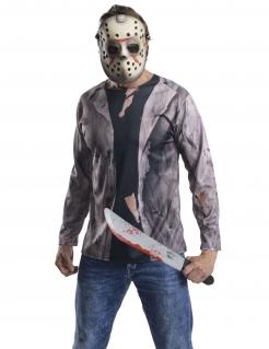 Jason™-Kostüm Halloween-Kostüm schwarz-weiss-grau