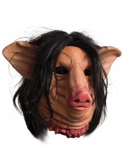 Saw™-Maske Schweinemaske Halloween-Maske rosa-schwarz