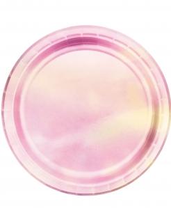 Pappteller Metallic 8 Stück pink 23cm