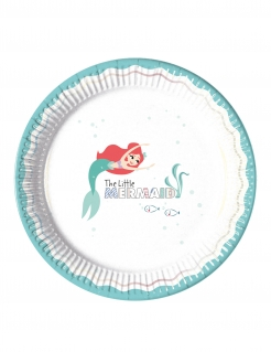 Arielle™-Pappteller Partydeko 8 Stück weiss-türkis 23cm