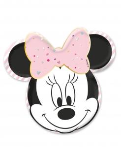 Minnie Maus™-Pappteller Premium Partydeko 4 Stück schwarz-weiss-rosa 31x32cm