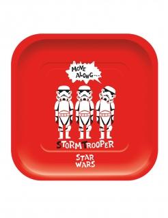 Star Wars™ Stormtrooper Pappteller 4 Stück rot-weiss-schwarz 24x24cm