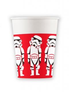 Star Wars™-Trinkbecher Pappe 8 Stück rot-weiss-schwarz 260ml