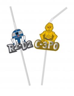Star Wars™-Strohhalme flexibel Metalliceffekt Deko 6 Stück bunt