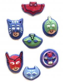 PJ Masks™-Zuckerfiguren 2D Kuchendeko 7 Stück bunt 11g