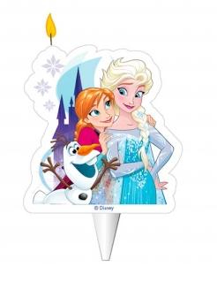 Frozen™-Geburtstagskerze Elsa, Anna und Olaf Partyzubehör bunt 8cm