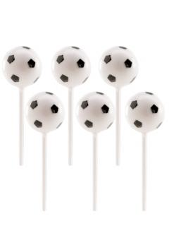 Fussball-Piekser für Fingerfood Partydeko sechs Stück schwarz-weiss 2,3 cm