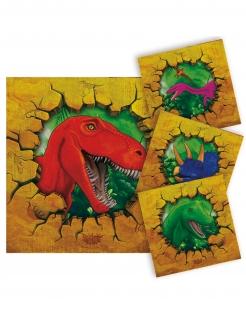 Dinosaurier-Servietten klein Partydeko 16 Stück bunt 25x25cm