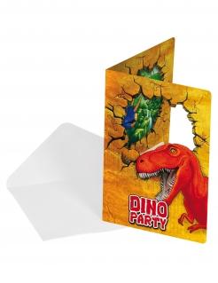 Dinosaurier-Einladungskarten mit Briefumschlag 6 Stück bunt 15cm