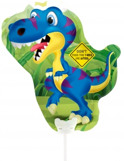 Niedlicher Dinosaurier-Aluminiumballon bunt 32 x 27 cm