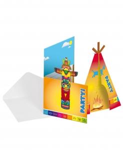 Indianer-Einladungskarten mit Umschlag 8 Stück bunt 12x22cm