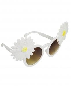 Blumen-Hippie-Brille für Erwachsene weiss-gelb