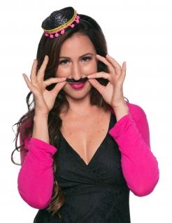 Mini-Sombrero Kostümaccessoire schwarz-gold-pink