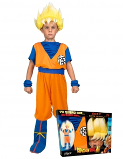 Super Saiyan Goku™-Kostüm für Kinder Dragon Ball™ Kostümkoffer orange-blau-gelb