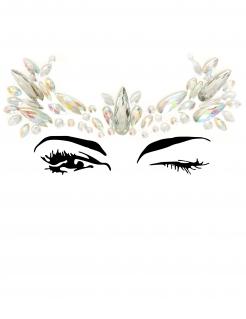 Glitzersteine für das Gesicht selbstklebend Make-up silber