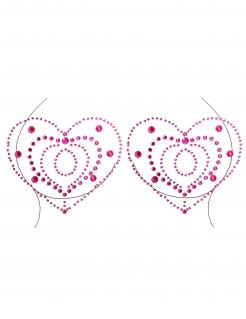 Strasssteine für das Dekolleté Herzform Accessoire pink