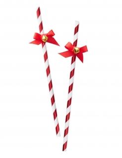 Party-Strohhalme für Weihnachten 10 Stück rot-weiß-goldfarben