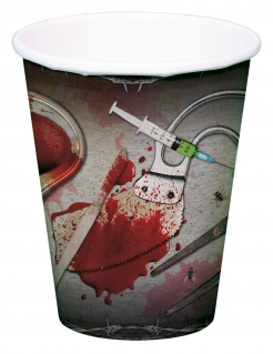 Pappbecher blutiges Arztbesteck 8 Stück Halloween Dekoration schwarz-rot 250ml