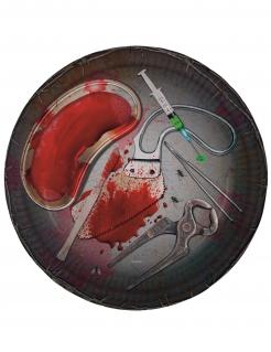 Papierteller blutiges Arztbesteck Halloween 8 Stück Dekoration 23cm